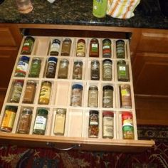 Spice Drawer Pull Out Shelves By ShelfGenie  Organize your kitchen easily with the help of Shelf Genie of Southfield, MI!  Call (248) 420-3903 for a FREE design consultation or visit our website www.shelfgenie.com/southfield for more information!
