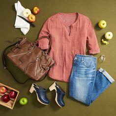 How 'bout them apples! Opt for a bright blouse & relaxed jeans to stay stylish during all your favorite fall activities. #FixedOnFall