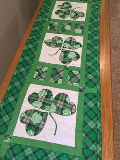 Excited to share this item from my shop: St Patrick's day table runner Quilted Table Toppers, Quilted Table Runners, Homemade Blankets, Table Runner Pattern, Craft Day, Sewing Table, Longarm Quilting, St Patricks Day, Quilt Patterns