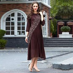 Brown Party Wear Stitched Kurti