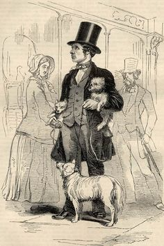 """""""The Street-Seller of Dogs"""" - Illustration from Henry Mayhew's """"London Labour & London Poor"""" (1851-1865): """"There's one advantage in my trade, we always has to do with the principals. There's never a lady would let her favouritist maid choose her dog for her. Many of 'em, I know dotes on a nice spaniel. Yes, and I've known gentleman buy dogs for their misses."""""""