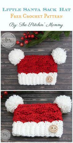 Crochet Beanie Ideas Little Santa Sack Hat Crochet Free Pattern - Sack Beau Crochet, Crochet Baby Blanket Beginner, Bonnet Crochet, Crochet Beanie Hat, Crochet Baby Hats, Crochet Gifts, Crochet For Kids, Free Crochet, Crochet Santa Hat