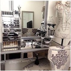 We love beautiful spaces to create in. How gorgeous is this vanity area. ……