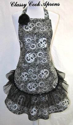 Apron in BLACK, Silver, Grey with SHEER Ruffle by ClassyCookAprons, $38.50