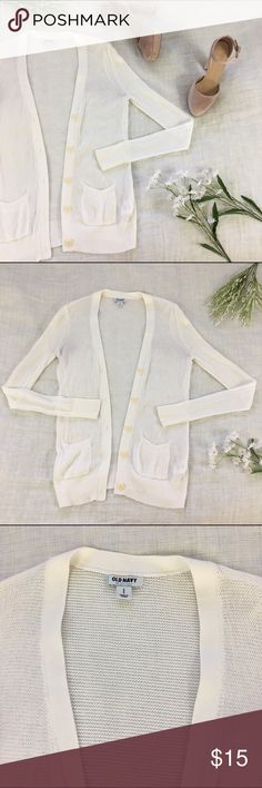 "🆕 LISTING White Lightweight Cardigan Perfect for a spring night. Nice and light weight with a knit material. Size small. Measures 15.5"" underarm to underarm and 25"" in length. Good used condition. Ask any questions! Old Navy Sweaters Cardigans"