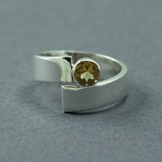 Solid Sterling SIlver Citrine Ring Round Citrine Ring Made to Order Free…