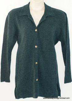 Eddie Bauer Cardigan Womens Size Large Wool Button Down Long Sleeve Teal  #EddieBauer #Cardigan