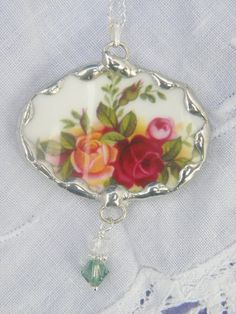 Broken China Necklace  Old Country Rose by Robinsnestcreation1, $38.95
