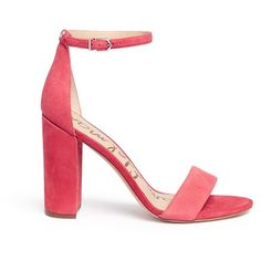 Sam Edelman 'Yaro' ankle strap suede sandals (€260) ❤ liked on Polyvore featuring shoes, sandals, pink, pink high heel sandals, thick heel sandals, wide heel sandals, suede sandals and high heeled footwear