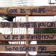 We don't want to have a grooms side and brides side for seating- this sign is perfect!