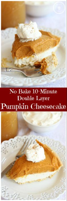 This quick and simple no-bake pumpkin cheesecake comes together in 10 minutes! With just a handful of ingredients, this Double Layer Pumpkin Cheesecake is a delicious dessert for holidays and Thanksgiving. christmas make,no bake desserts Brownie Desserts, Oreo Dessert, Mini Desserts, Coconut Dessert, Pumpkin Dessert, No Bake Desserts, Easy Desserts, Dessert Recipes, Dessert Shots
