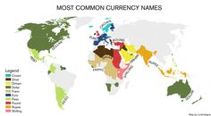 This map shows commonly used currency names around the world. I Think Map, Economic Geography, World History Lessons, Historical Maps, Diagram, Names, Infographics, Charts, Muse