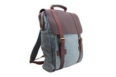 Image of Leather-Canvas Backpack / Laptop Bag / School Bag / Travel Bag / Backpack 1820