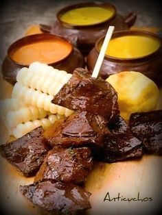 ANTICUCHOS    Marinated beef shanks better known in Peru as ANTICUCHOS using the cow´s heart meat to ensure the tenderness of this cut, very savory and tangy after grilling.. yummy!