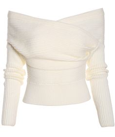 White Boat Neck Ribbed Sweater