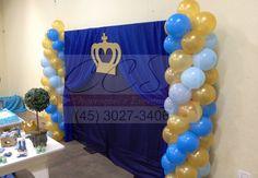 Decoração festa menino principe azul dourado ccs decorações e eventos painel