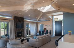 Living area with natural light by Lockwood homes ,NZ Living Area, Living Room, Lakeside Living, Lounge, Ceiling Lights, Architecture, Luxury, Homes, Table