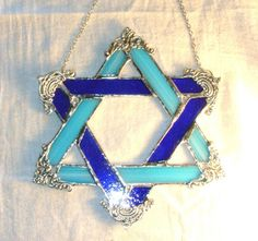 Stained Glass Star of David with Silver Plated by MoreThanColors, $48.50