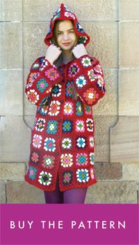 Hooded crochet granny square crocheted wool jacket coat pattern how to make instructions free tutorial DIY upcycled recycled blanket afghan