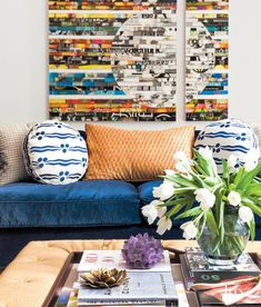 Bold colors and rich cultural references contribute to a fresh design with surprises around every corner in a young family's Tribeca home.