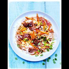 Bœuf, carottes et nouilles de riz