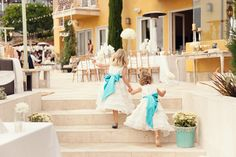 Pretty flower girl dresses white with turquoise sashes