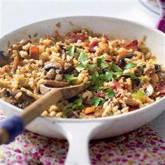Mushroom and bacon three-grain risotto recipe. This bacon and mushroom risotto is a savoury treat. The three-grains give it real bite.