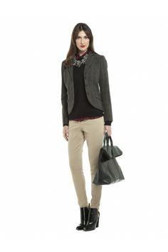 JACOB British look - Plaid Flannel Blazer, plaid blouse, corduroy jeggings Blazers For Women, Women Blazer, Plaid Flannel, Jeggings, Corduroy, Chiffon, Normcore, Blouse, October