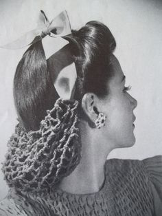 """Crochet Booklet from 1942 Features this Hair Bun to Crochet called"""" Sweet Sue"""""""