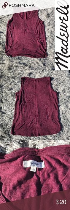  Madewell maroon tank Madewell maroon tank a little shorter in the front   Gently used but good condition   Buy 2 items get 3rd half off , offering bundle discounts & accepting all reasonable offers #22 Madewell Tops Tank Tops