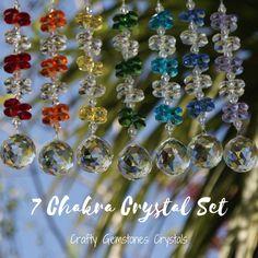 Full 7 Chakra Set Crystal Suncatchers , Feng Shui Crystal, Large Window Decoration, Rainbow Maker Feng Shui Crystals, Chakra Crystals, Feng Shui Energy, Crown Chakra, Crystal Grid, Heart Chakra, You Are Awesome, Suncatchers, Plexus Products
