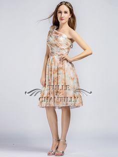 Floral One Shoulder Short Knee Length Chiffon Bridesmaid Dress Evening  Dresses Online 909e85c75022