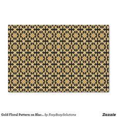"Gold Floral Pattern on Black Tissue Paper 10"" X 15"" Tissue Paper"