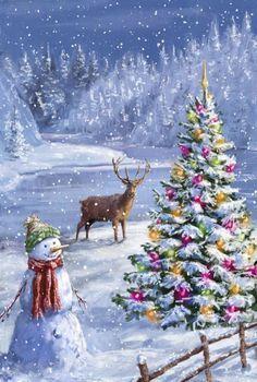 weihnachten schnee christmas scenes S - Noel Christmas, Vintage Christmas Cards, Country Christmas, Christmas Pictures, Christmas Crafts, Christmas Decorations, Xmas, Winter Christmas Scenes, Illustration Noel