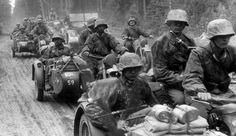 """""""A column of Waffen-SS motorcycle troops of the SS Panzer Division Das Reich on the move in Russia, Red Army, World War Two, Troops, Ww2, Division, Battle, Survival, Military, The Unit"""
