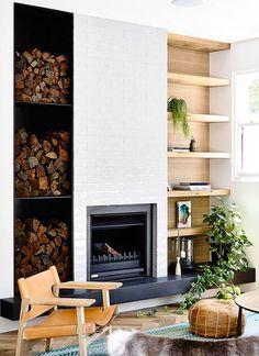 simple fireplace wall design ideas 65 - Bcherregal Ideen Neben Kamin