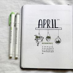 get ready for more april bujo spreads this week, because i'm so proud of how they turned out also, i know the lighting isn't great, but i promise it looks better irl April Bullet Journal, Bullet Journal Quotes, Bullet Journal Notebook, Bullet Journal Themes, Bullet Journal Spread, Bullet Journal Layout, Bullet Journal Inspiration, Journal Ideas, Kalender Design