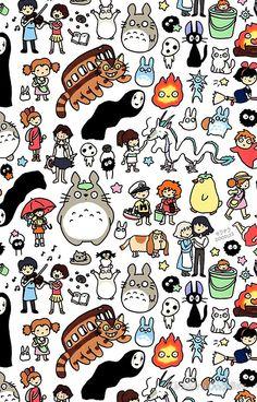Wallpaper Iphone - Kawaii Ghibli Doodle - Wallpaper World Kawaii Doodles, Cute Doodles, Kawaii Wallpaper, Iphone Wallpaper, Studio Ghibli Art, Ghibli Movies, My Neighbor Totoro, Doodle Art, Cute Drawings