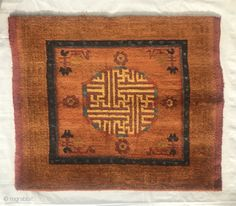 19thC Tibetan meditation square 75x62 cms All natural dyes of high quality made for monastic use Nb:due to monastic and aristocratic sponsorship of weavers there are many different types of Tibetan rug. | rugrabbit.com Tibetan Rugs, Dyes, Carpets, Meditation, Chinese, Natural, Art, Farmhouse Rugs, Rugs