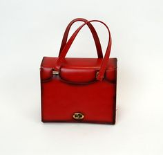 1960s purse box purse red leather handbag mod by vintagerunway, $39.00