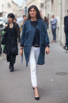 Blue jacket, white jeans