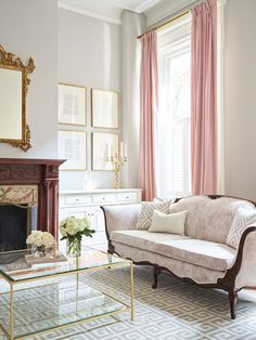 Tall Soft Pink Curtains In This Parlor. Greek Key Layered Rugs And Brass And  Glass Cocktail Table. Velvet Sofa. Interior Design By SHOPHOUSE Kyle Born  ...