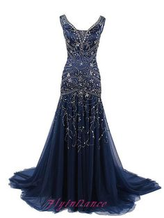 Navy Blue Prom Dresses 2016 Mermaid Dark Navy Sparkly Beading Prom Dress With Shiny Beading Long Glitter Evening Gown For Teens