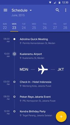 Schedule Application Interface – Mobile app by Afrian Hanafi: