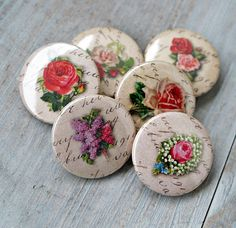 Set of 6 romantic vintage buttons flair badges by Lemoncraftshop, $4.50