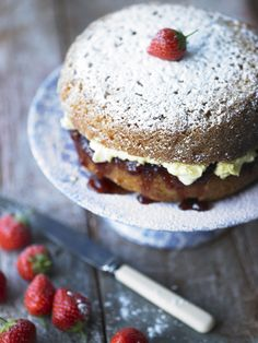 Victoria sponge filled with jam and Rodda's clotted cream Clotted Cream Recipes, British Sweets, Baking Parchment, Victoria Sponge, British Baking, Cooking Instructions, Cake Tins, Baking Tips, Eat Cake