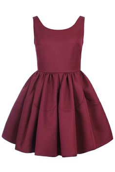 $45 ROMWE   ROMWE Pleated Sleeveless Puff Sheer Dark-red Dress, The Latest Street Fashion