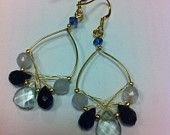 Cool BLUES crystal beads rhinestones hook drop dangling Earring with wire wrapping