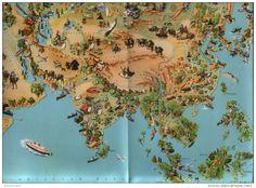 Landkarte, Teil von Asien - Druck,  aus Westermanns Monatsheften entnommen