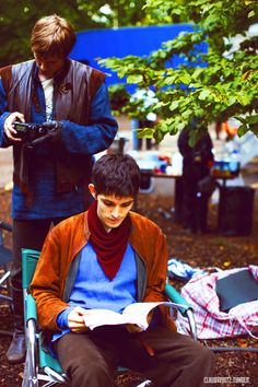 I love that Colin is studying his script while Bradley is just playing.